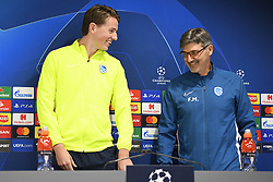 November 4, 2019, Liverpool, UNITED KINGDOM: Genk's Sander Berge and Genk's head coach Felice Mazzu pictured before the start of a press conference of Belgian soccer team KRC Genk, Monday 04 November 2019 in Liverpool, United Kingdom, in preparation of tomorrow's match against English club liverpool FC in the group stage of the UEFA Champions League. BELGA PHOTO YORICK JANSENS (Credit Image: © Yorick Jansens/Belga via ZUMA Press)