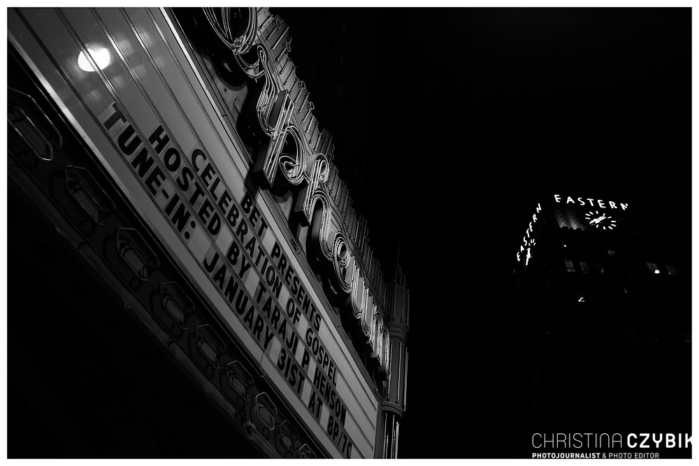 LA Noir: Downtown Los Angeles at Night - Orpheum Marquee on Broadway and Eastern Building