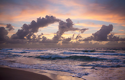 spectacular sunrise over the Atlantic Ocean in Fort Lauderdale, Florida