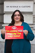 Lorna Merry, HMRC, 100 Parliament Street. PCS members working in the civil service are holding a short, high profile protest to demonstrate about the continued 1% pay cap public sector pay cap that has been in place for 7 years.Westminster,  London,  United Kingdom. (Photo by Andy Aitchison / PCS)