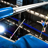The Netherlands, Apeldoorn, 17-02-2013.<br /> Athletics, Dutch National Championships Indoor, Pole Vault Men.<br /> Robbert-Jan Jansen fails on 5,57 metres and will finish on the second place.<br /> Photo : Klaas Jan van der Weij