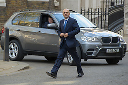 Sajid Javid, new Secretary of State for Culture, Media and Sport arrives at Downing Street.  Wednesday, 9th April 2014. Picture by Anthony Upton / i-Images
