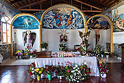 Interior of the chapel at the La Casa De La Santa Muerte or House of the Saint of the Dead November 1, 2017 in Santa Ana Chapitiro, Michoacan, Mexico.