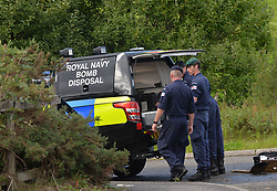 Royal Navy bomb disposal experts carried out a controlled explosion on a suspicious item found at the Forth & Clyde canal, near the Leisuredrome Leisure Centre in Bishopbriggs in East Dumbartonshire. The leisure  centre had to be evacuated and roads around the canal were closed for several hours.<br /> <br /> © Dave Johnston / EEm