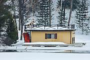 Boathouse in winter<br /> Muskoka Country<br /> Ontario<br /> Canada