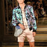 Designer Ashley Isham showcases is latest collection at Fashion Scout - SS19 at Freemasons Hall, London, UK. 14 September 2018.