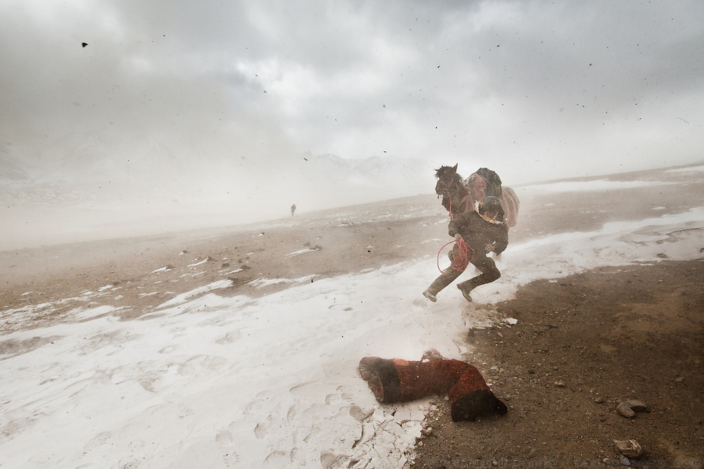 """On the Pamir plateau, at 4200m, a horseman is swept off his feet by the constant wind called """"Bad-e Wakhan"""", which blows East most of the year, on the Afghan Pamir plateau..In camp of Ech Keli (er Ali Boi's camp)...Trekking through the high altitude plateau of the Little Pamir mountains, where the Afghan Kyrgyz community live all year, on the borders of China, Tajikistan and Pakistan."""