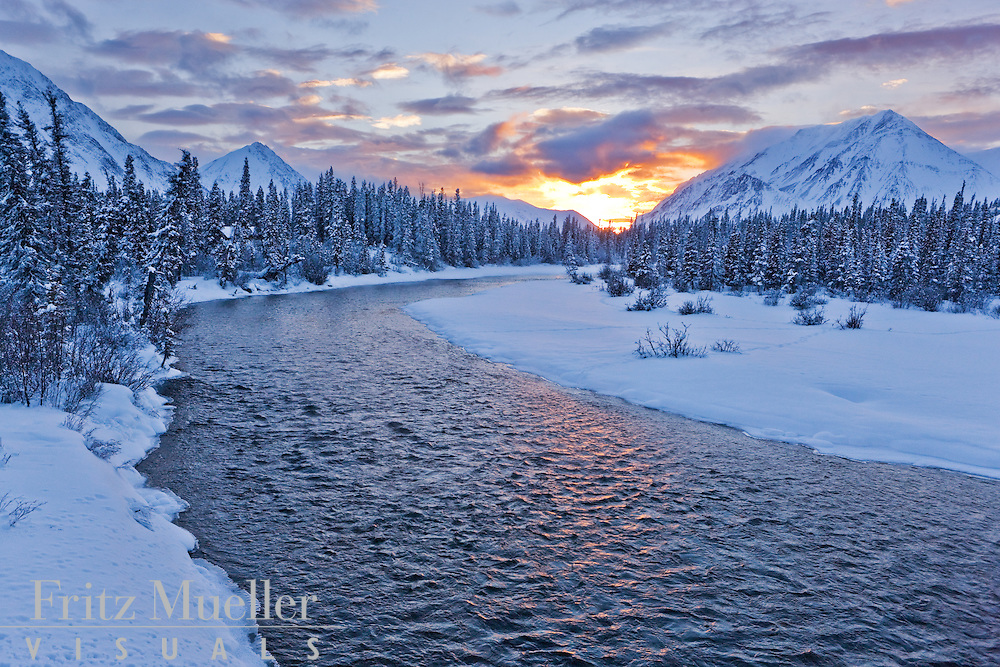 Kathleen River in winter, Kluane National Park, Yukon