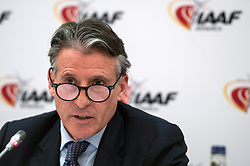 IAAF President Lord Sebastian Coe during the press conference at the London Marriott Hotel Canary Wharf, London.