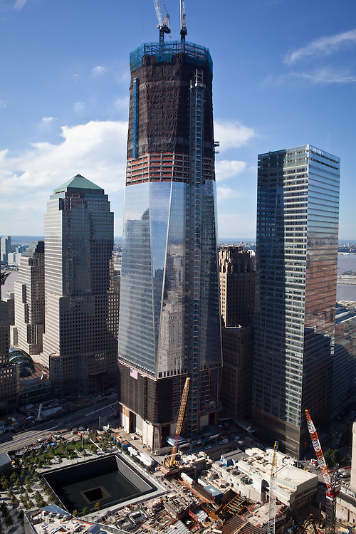 Construction of the Freedom Tower as seen from 1 Liberty Plaza on September 9th  2011.Workers at Ground Zero continue getting the memorial site ready as the 10th anniversary of the 9/11 World Trade Center approaches.