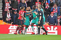 Football - 2018 / 2019 Premier League - Southampton vs. Tottenham Hotspur<br /> <br /> Southampton's Nathan Redmond and Moussa Sissoko of Tottenham clash off the ball late on at St Mary's Stadium Southampton<br /> <br /> COLORSPORT/SHAUN BOGGUST