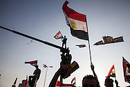 People wave flags and cheer in Cairo's Tahrir Square, after news of president Morsi's arrest by military forces.