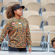 PARIS, FRANCE May 26. Naomi Osaka of Japan with coach Wim Fissetteduring practice on Court Philippe-Chatrier in preparation for the 2021 French Open Tennis Tournament at Roland Garros on May 2pm 6th 2021 in Paris, France. (Photo by Tim Clayton/Corbis via Getty Images)