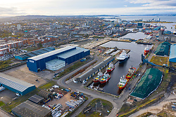 Aerial view of Forth Ports Port of Leith in Scotland, UK