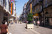 Historic buildings and shops in pedestrianised old part of the city centre, Vigo, Spain in 1999