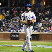 Pitcher Jake Arrieta, Chicago Cubs, heads back to the dugout during his side loss in the MLB NLCS Playoffs game two, Chicago Cubs vs New York Mets at Citi Field, Queens, New York. USA. 18th October 2015. Photo Tim Clayton