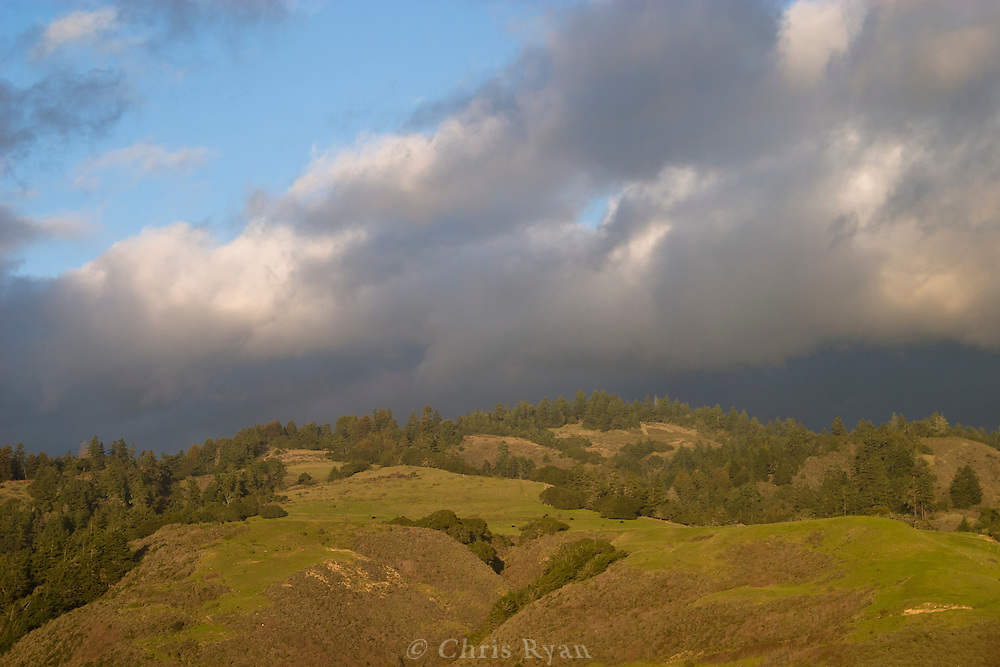 Evening's last light on the hills north of Santa Cruz, California