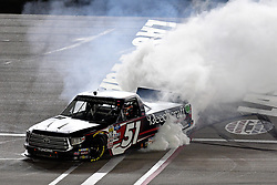 March 1, 2019 - Las Vegas, NV, U.S. - LAS VEGAS, NV - MARCH 01: Kyle Busch (51) Kyle Busch Motorsports (KBM) Toyota Tundra does a burnout after winning the NASCAR Gander Outdoors Truck Series The Strat 200 on March 1, 2019, at Las Vegas Motor Speedway in Las Vegas, Nevada. (Photo by Michael Allio/Icon Sportswire) (Credit Image: © Michael Allio/Icon SMI via ZUMA Press)