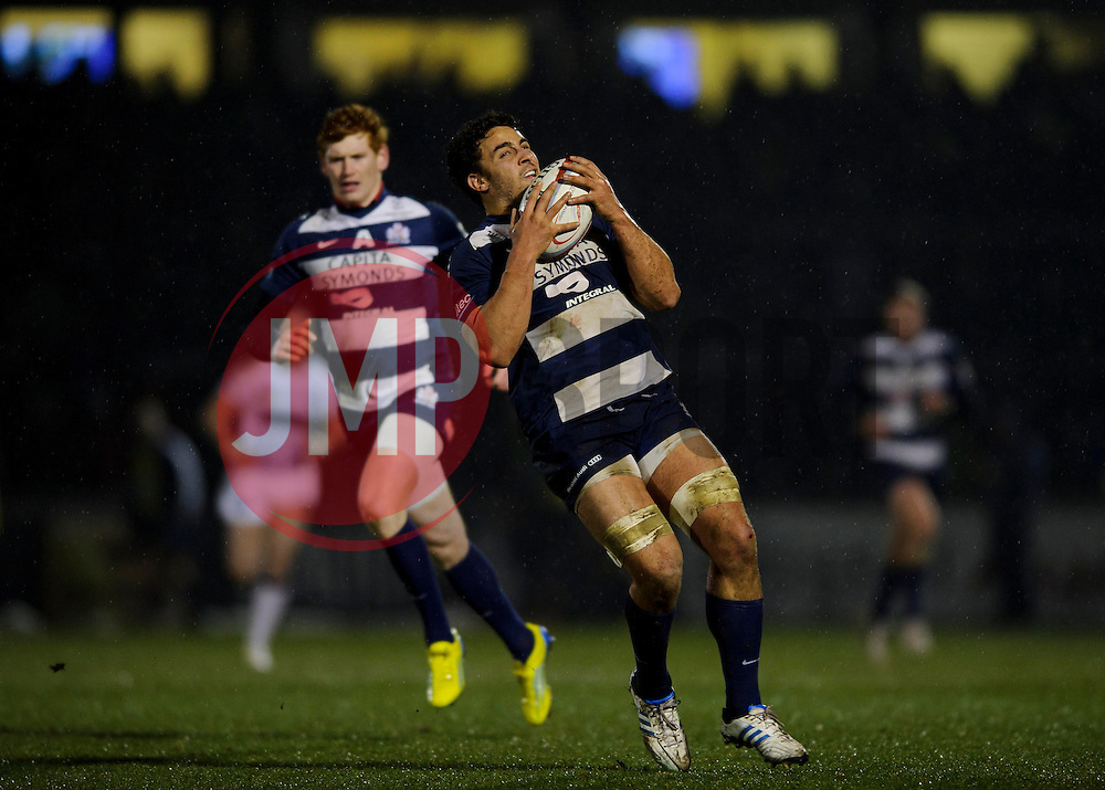 Bristol Flanker (#6) Marco Mama takes a high ball during the first half of the match - Photo mandatory by-line: Rogan Thomson/JMP - Tel: Mobile: 07966 386802 25/01/2013 - SPORT - RUGBY - Memorial Stadium - Bristol. Bristol v Leeds Carnegie - RFU Championship.