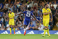 Michy Batshuayi of Chelsea celebrates after scoring his sides 1st goal of the match to make it 1-0. EFL Cup 2nd round match, Chelsea v Bristol Rovers at Stamford Bridge in London on Tuesday 23rd August 2016.<br /> pic by John Patrick Fletcher, Andrew Orchard sports photography.