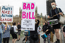 Kill The Bill activists protest on Westminster Bridge against the Police, Crime, Sentencing and Courts (PCSC) Bill 2021 as MPs consider amendments to the Bill in the House of Commons on 5th July 2021 in London, United Kingdom. The PCSC Bill would grant the police a range of new discretionary powers to shut down protests, including the ability to impose conditions on any protest deemed to be disruptive to the local community, wider stop and search powers and sentences of up to 10 years in prison for damaging memorials.
