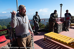 Motorcycle Sherpa's Bear Haughton makes an announcement before leaving Everest Panorama Resort on the Ride to the Heavens motorcycle adventure in the Himalayas of Nepal. Riding from Daman back to Kathmandu. Wednesday, November 13, 2019. Photography ©2019 Michael Lichter.