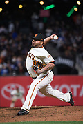 San Francisco Giants relief pitcher Reyes Moronta (54) pitches against the Los Angeles Dodgers at AT&T Park in San Francisco, California, on September 13, 2017. (Stan Olszewski/Special to S.F. Examiner)