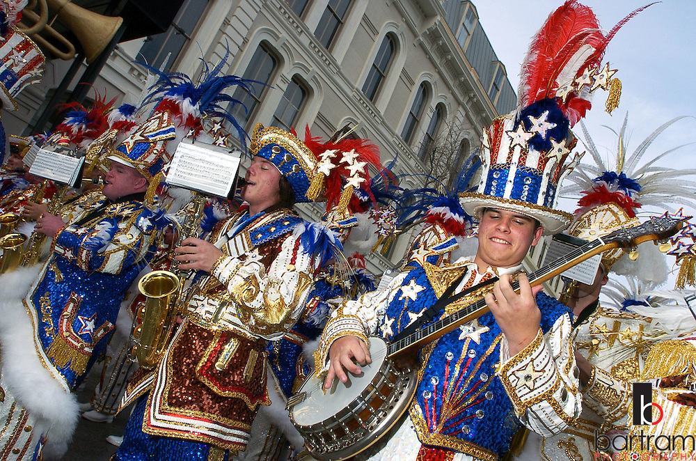 The Philadelphia Mummers Quaker City String Band performs during Mardi Gras in Galveston, Texas.
