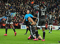 Football - 2019 / 2020 EFL Carabao (League) Cup - Semi-Final, Second Leg: Aston Villa (1) vs. Leicester City (1)<br /> <br /> Agony for Jonny Evans of Leicester, as his header goes just wide at Villa Park.<br /> <br /> COLORSPORT/ANDREW COWIE