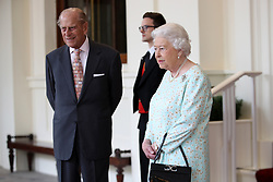 Queen Elizabeth II and the Duke of Edinburgh bid farewell to King Felipe VI of Spain and Queen Letizia at Buckingham Palace, on the final day of the King's State Visit to the UK.