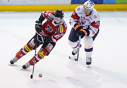 Raphael Herburger of Austria vs JAN URBAS of Slovenia during Friendly Ice-hockey match between National teams of Slovenia and Austria on April 19, 2013 in Ice Arena Tabor, Maribor, Slovenia. (Photo By Vid Ponikvar / Sportida)