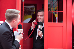 EDITORIAL USE ONLY<br /> Bradley Walsh spills the beans to Virgin TV's red-carpet host Roman Kemp from the tardis in Virgin TV's Must-See Moment Lounge at the Virgin TV British Academy Television Awards.