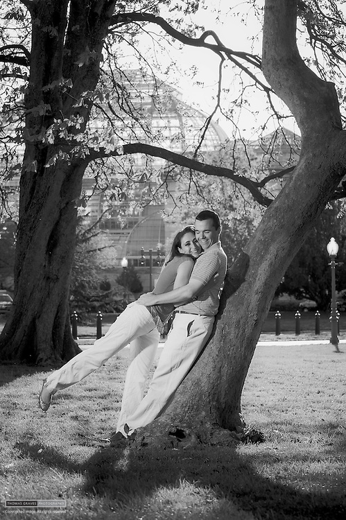 James Rowe & Stephanie Behar are shown here on the grounds of the U.S. Capitol, chosen to highlight their D.C.-themed wedding that will be held in June of 2012. All photos ©2012 Thomas Graves