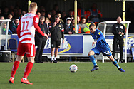 AFC Wimbledon attacker Shane McLoughlin (38) dribbling during the EFL Sky Bet League 1 match between AFC Wimbledon and Doncaster Rovers at the Cherry Red Records Stadium, Kingston, England on 9 March 2019.