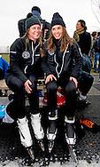 BIDDINGHUIZEN - Prinses Annette (R) en Rosanna Kluivert tijdens de tweede editie van De Hollandse 100 op FlevOnice, een sportief evenement van fonds Lymph en Co ter ondersteuning van onderzoek naar lymfeklierkanker.  COPYRIGHT ROBIN UTRECHT <br /> BIDDINGHUIZEN -  During the second edition of the Dutch 100 on FlevOnice, a sporting event fund Lymph and Co. to support research into lymphoma. COPYRIGHT ROBIN UTRECHT