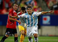 ARGENTINA (ARG) [3] Vs. CHILE (CHI) [0]  at the U-20 Soccer Football WORLD CUP - Canada'07 Semi Final match 19/07/07 in Toronto, Canada.<br /> Here Argentine N*10 SERGIO AGUERO celebrating his team 3th goal<br /> © Gabriel Piko / PikoPress
