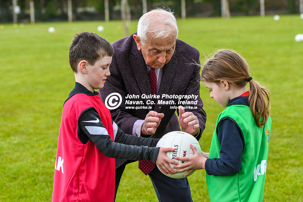 St. Peters, Dunboyne, Ambassador, Sean Boylan, giving advice to Zach Barron and Ciara Cashin,  at the Dunboyne GFC new developement launch.<br /> Photo: GERRY SHANAHAN-WWW.QUIRKE.IE<br /> <br /> 09-05-2021