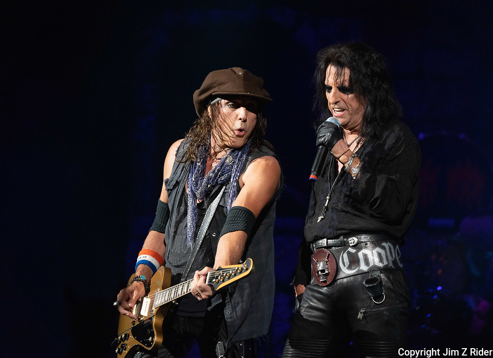 After nearly 19 months off stage, Rock and Roll legend ALICE COOPER, 73, launches his fall 2021 tour at Ocean Casino Resort in Atlantic City, New Jersey. RYAN ROXIE is at left.