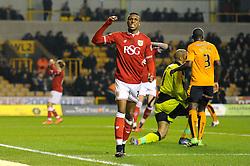 Jonathan Kodjia of Bristol City reacts as his shot goes wide just before half time - Mandatory byline: Dougie Allward/JMP - 08/03/2016 - FOOTBALL - Molineux Stadium - Wolverhampton, England - Wolves v Bristol City - Sky Bet Championship