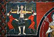 12th century Romanesque painted altar front from Saint Quirc de Durro, Val de Boi, Alta Ribagorca, Spain, showing scenes depicting the martyrdom of saints.  National Art Museum of Catalonia, Barcelona 1919-23. Ref: MNAC 15809. .<br /> <br /> If you prefer you can also buy from our ALAMY PHOTO LIBRARY  Collection visit : https://www.alamy.com/portfolio/paul-williams-funkystock/romanesque-art-antiquities.html<br /> Type -     MNAC     - into the LOWER SEARCH WITHIN GALLERY box. Refine search by adding background colour, place, subject etc<br /> <br /> Visit our ROMANESQUE ART PHOTO COLLECTION for more   photos  to download or buy as prints https://funkystock.photoshelter.com/gallery-collection/Medieval-Romanesque-Art-Antiquities-Historic-Sites-Pictures-Images-of/C0000uYGQT94tY_Y