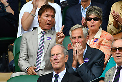 © Licensed to London News Pictures. 27/06/2016. SIR CLIFF RICHARD watches tennis in the centre court on the first day of the WIMBLEDON Lawn Tennis Championships in London, UK. Photo credit: Ray Tang/LNP