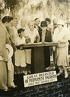 1927 Patrons signing up for the '27 season of the Hollywood Blvd. Artie Mason signing the book while Grandma Wakeman (at right) looks on.
