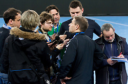 Tone Tiselj, head coach of Krim Mercator with journalists after the handball match between RK Krim Mercator and Buducnost Podgorica (MNE) in season 2011/2012 of EHF Women's Champions League, on February 24, 2012 in Arena Stozice, Ljubljana, Slovenia. Buducnost defeated Krim 27-26. (Photo By Vid Ponikvar / Sportida.com)