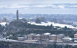 View of Calton Hill and former Royal High School in winter, Edinburgh, Scotland, UK