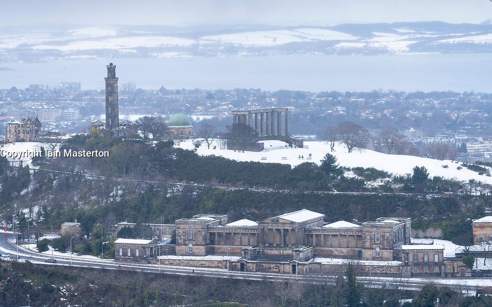 View of Calton Hill and former Royal High School in winter, Edinburgh, Scotland, UK