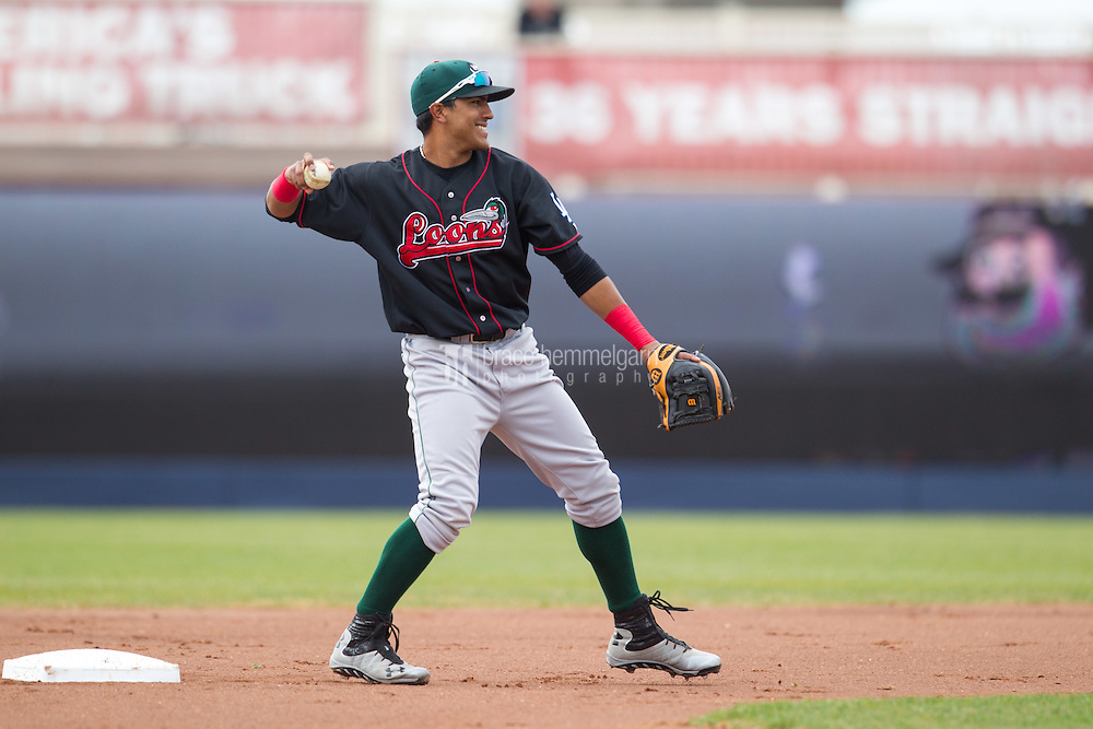 Great Lakes Loons second baseman Jesmuel Valentin #22 throws during a game against the Quad Cities River Bandits at Modern Woodmen Park on April 29, 2013 in Davenport, Iowa. (Brace Hemmelgarn)