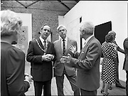 10/09/1988<br /> 09/10/1988<br /> 10 September 1988<br /> ROSC 1988 Exhibition at the Guinness Hop Store. <br /> Mr Pat Murphy, (right) Chairman of ROSC explains a work to  Sir Norman Macfarlane, (centre) Chairman of Guinness plc. and Alderman Ben Briscoe, T.D. Lord Mayor of Dublin.
