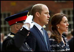 October 18, 2016 - Manchester, England, United Kingdom - UK OUT FOR 28 DAYS..Image ©Licensed to i-Images Picture Agency. 14/10/2016. Manchester, United Kingdom. The Duke and Duchess of Cambridge visit Manchester. Prince William, The Duke of Cambridge accompanied by his wife Catherine, The Duchess of Cambridge visit Manchester Town Hall. ..Britain's Prince William and his wife Catherine, Duchess of Cambridge, attend a paving stone ceremony for Victoria Cross recepients, at the Manchester Cenotaph in Manchester..Picture by i-Images / Pool (Credit Image: © i-Images via ZUMA Wire)