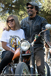 Shinya Kimura with his wife Ayu on her bike at the Born Free chopper show. Silverado, CA. USA. Sunday June 24, 2018. Photography ©2018 Michael Lichter.