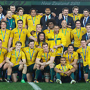 The Australian team with their bronze medals after the Australia V Wales Bronze Final match at the IRB Rugby World Cup tournament, Auckland, New Zealand. 21st October 2011. Photo Tim Clayton...